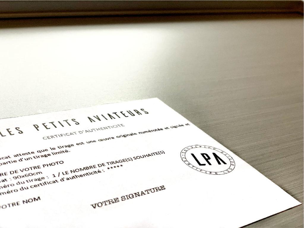 Le certificat d'authenticité pour un tableau photo personnalisé