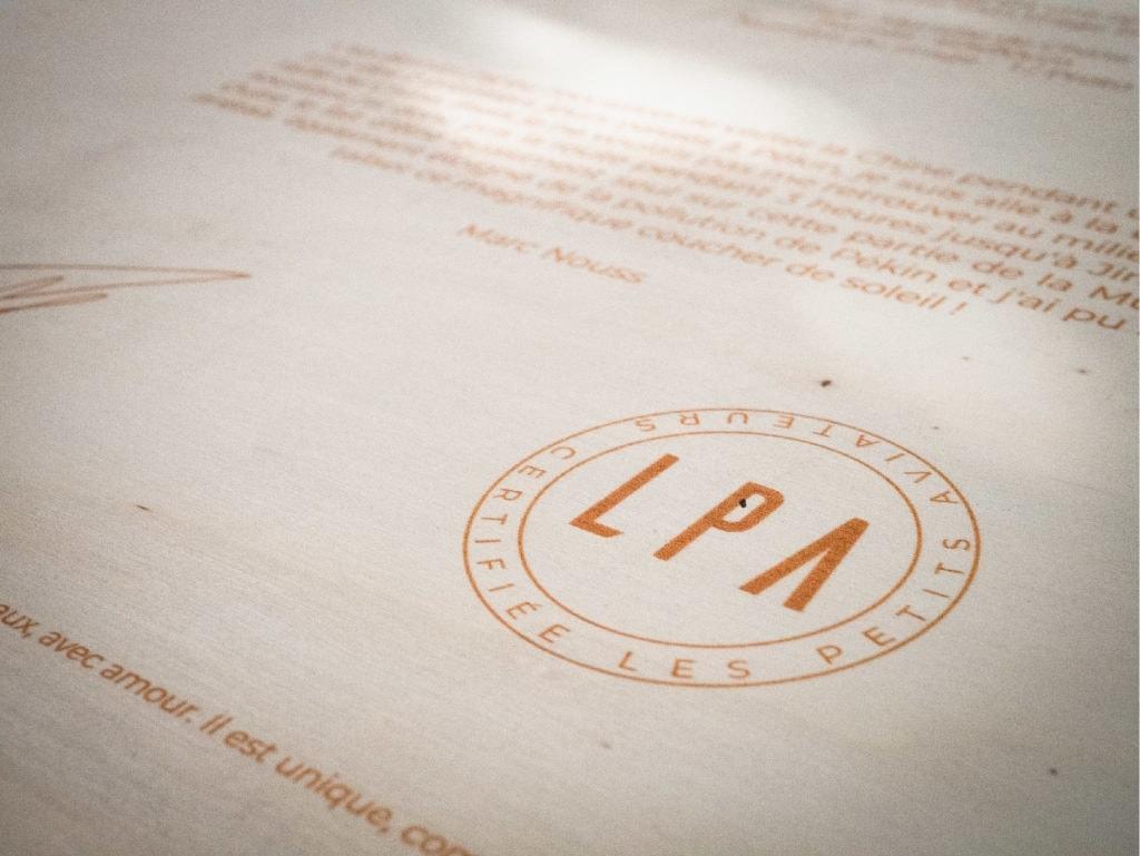 verso certificat authenticité logo les petits aviateurs