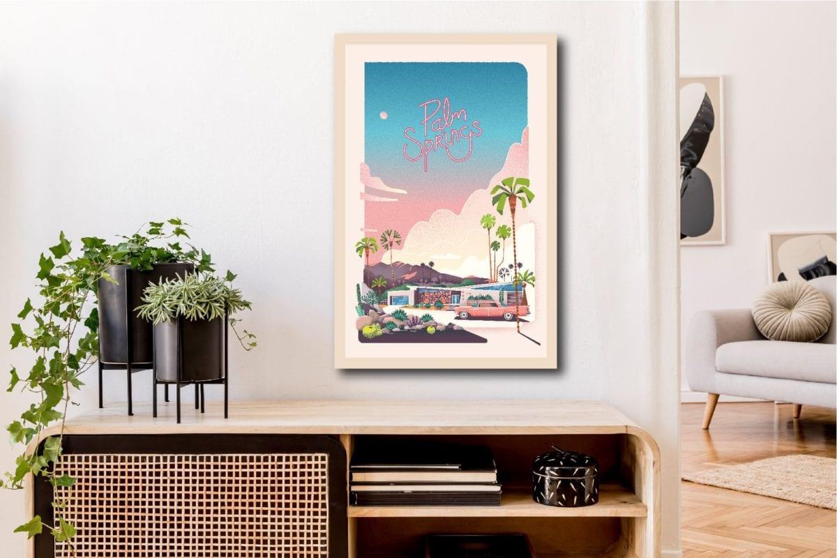 Illustration écoresponsable sur bois Atomike Les Petits Aviateurs Palm Springs Summer Vibes 40x60