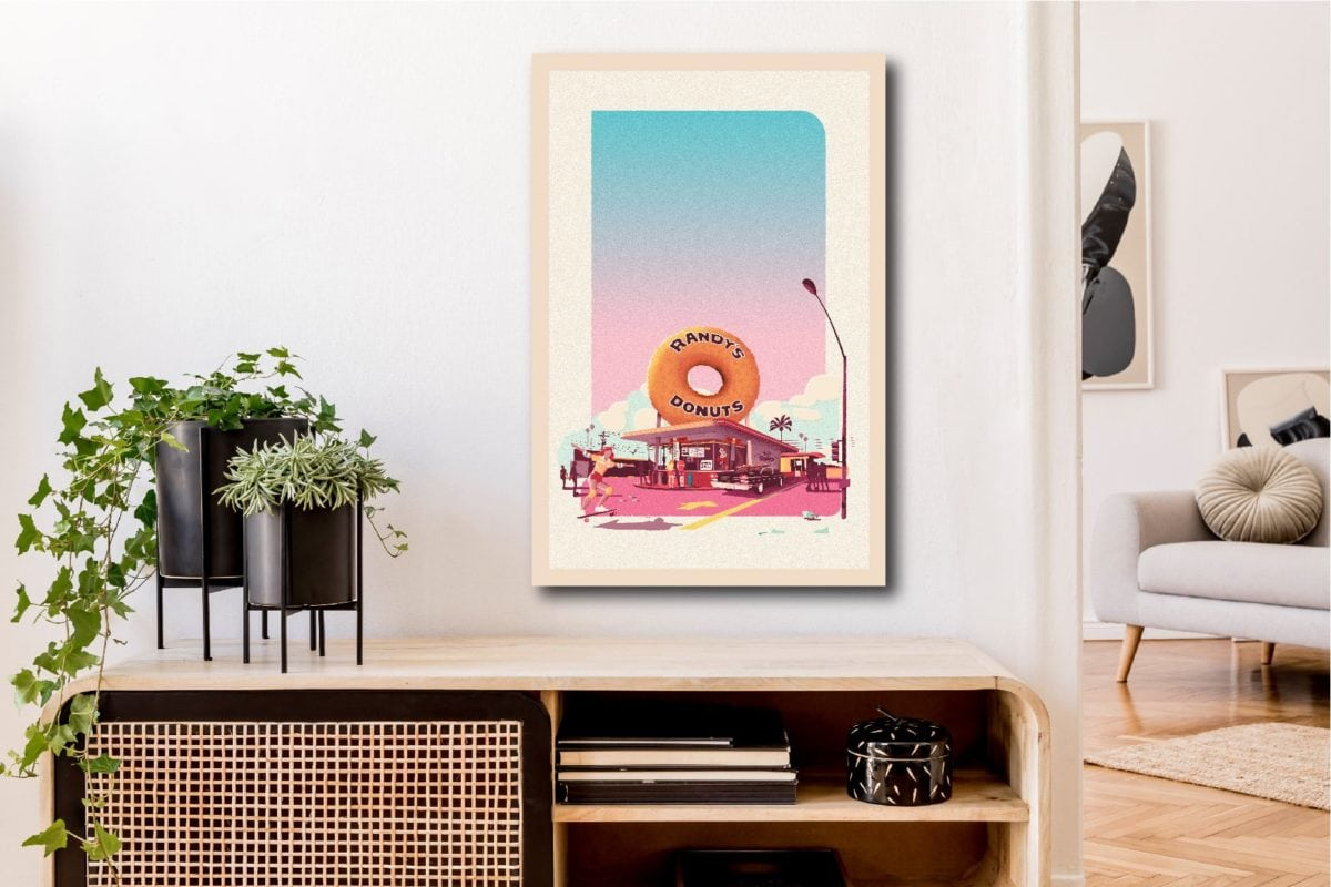 Impression sur bois française atomike Randy's Donuts les petits aviateurs 40x60