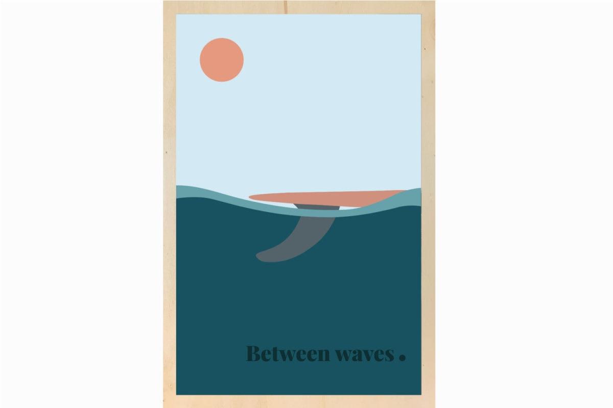 between waves illustration decoration bois
