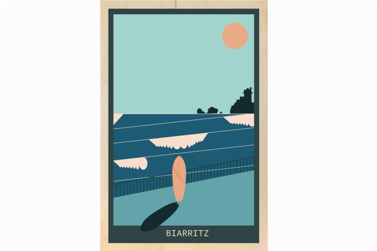 biarritz blue illustration impression sur bois
