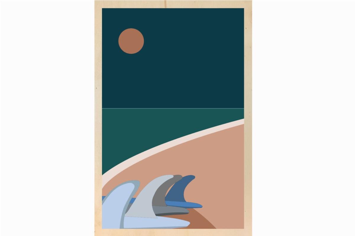 retour de surf illustration impression sur bois