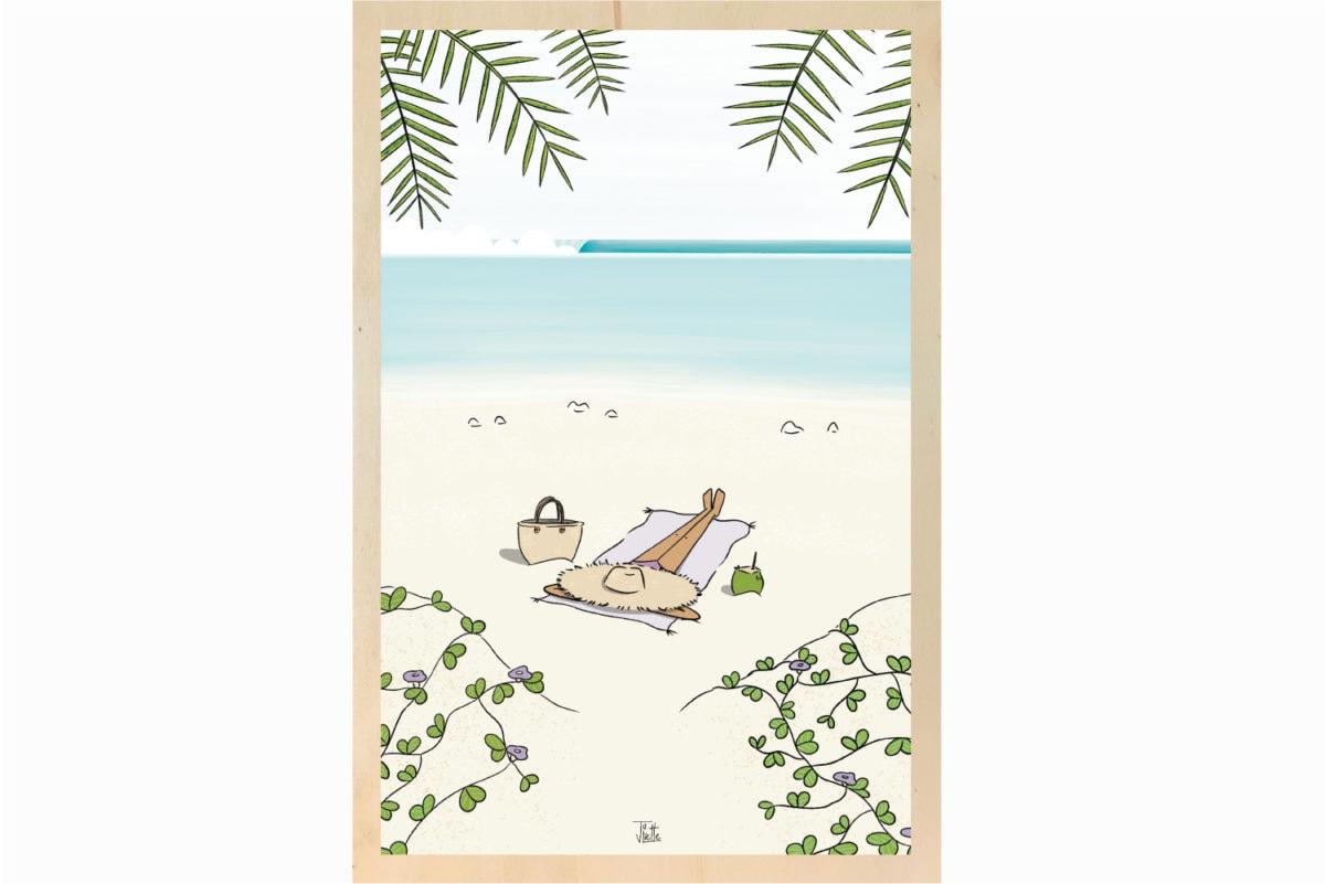 impression affiche écoresponsable sur bois Les Petits Aviateurs Juliette illustration surf