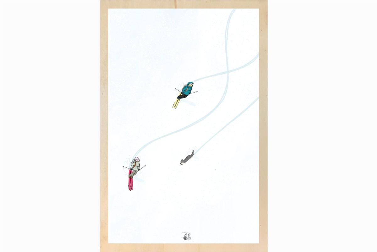 impression affiche écoresponsable sur bois Les Petits Aviateurs Juliette illustration ski