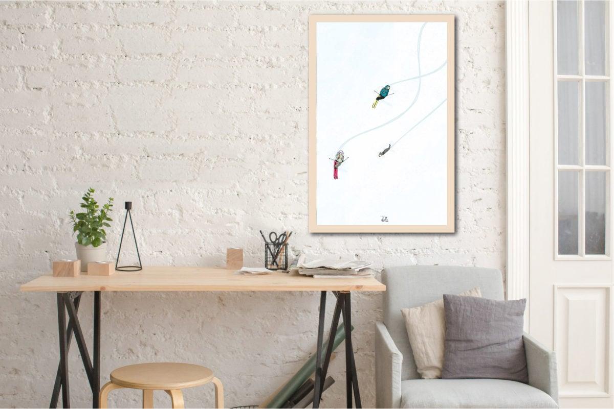 Impression écoresponsable sur bois Les Petits Aviateurs Juliette illustration 60X90