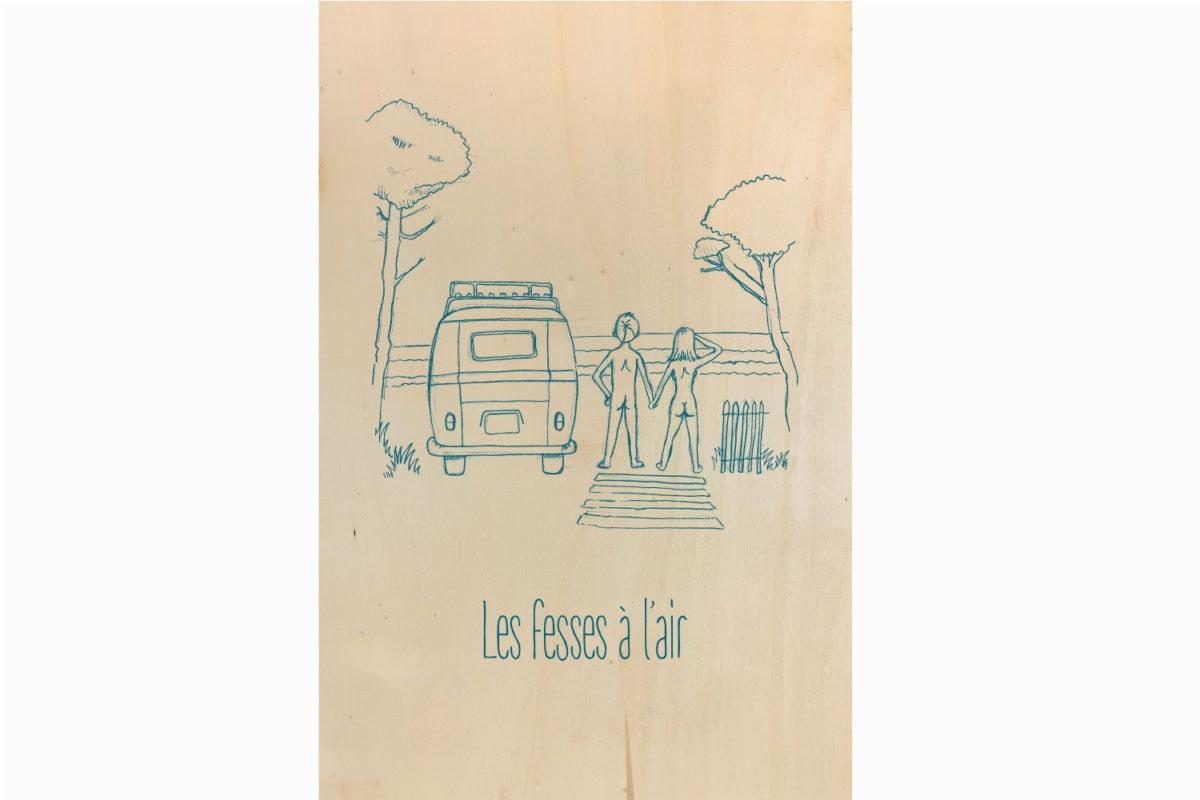 Impression ecoresponsable tableau en bois français Pascal Peris les petits aviateurs
