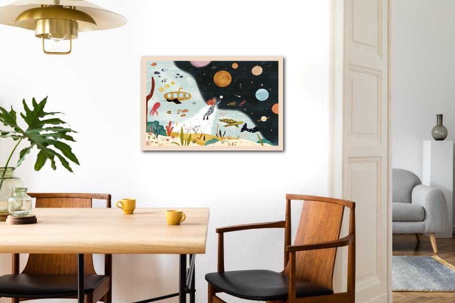 Impression ecoresponsable tableau en bois français La Jeanette les petits aviateurs
