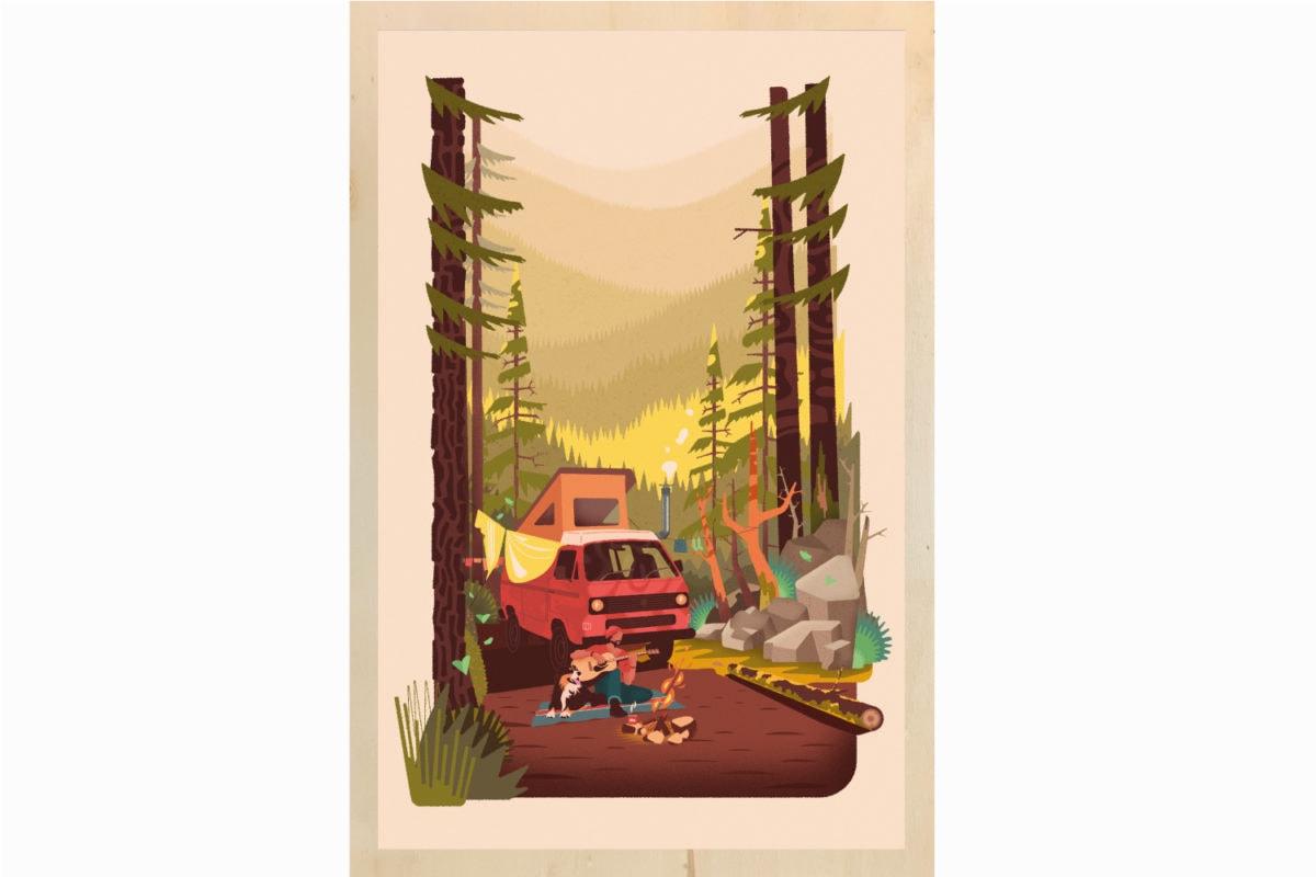 Impression ecoresponsable tableau en bois français Atomike les petits aviateurs